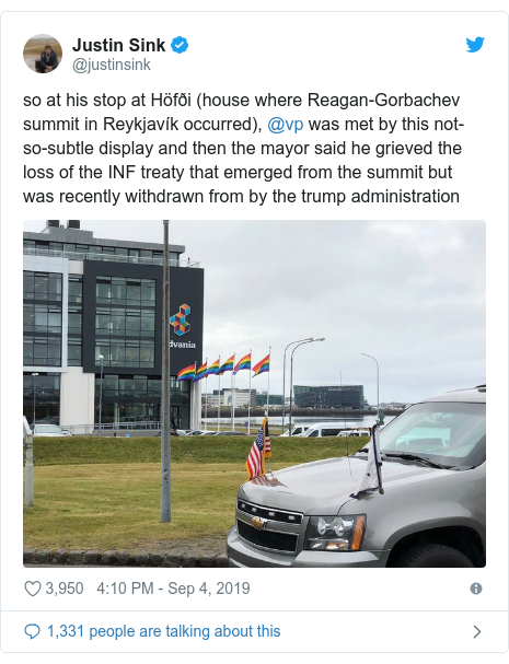Twitter post by @justinsink: so at his stop at Höfði (house where Reagan-Gorbachev summit in Reykjavík occurred), @vp was met by this not-so-subtle display and then the mayor said he grieved the loss of the INF treaty that emerged from the summit but was recently withdrawn from by the trump administration
