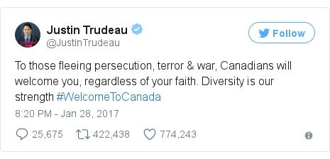 Twitter post by @JustinTrudeau