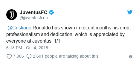 Twitter post by @juventusfcen: .@Cristiano Ronaldo has shown in recent months his great professionalism and dedication, which is appreciated by everyone at Juventus. 1/1
