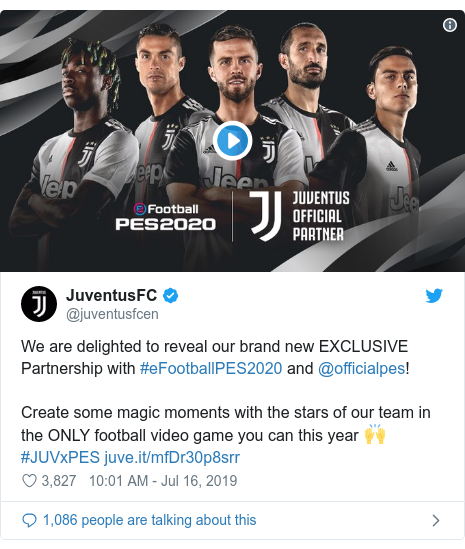 Twitter post by @juventusfcen: We are delighted to reveal our brand new EXCLUSIVE Partnership with #eFootballPES2020 and @officialpes! Create some magic moments with the stars of our team in the ONLY football video game you can this year 🙌#JUVxPES