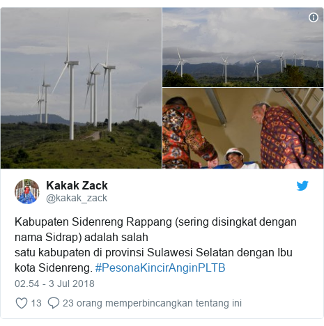 Twitter pesan oleh @kakak_zack: Kabupaten Sidenreng Rappang(sering disingkat dengan nama Sidrap) adalah salah satukabupatendiprovinsiSulawesi Selatan dengan Ibu kotaSidenreng. #PesonaKincirAnginPLTB