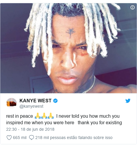 Twitter post de @kanyewest: rest in peace 🙏🙏🙏  I never told you how much you inspired me when you were here   thank you for existing