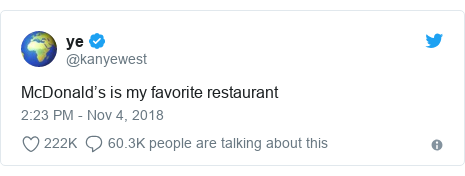 Twitter post by @kanyewest: McDonald's is my favorite restaurant