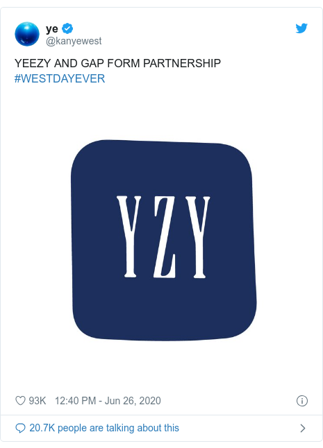 Twitter post by @kanyewest: YEEZY AND GAP FORM PARTNERSHIP #WESTDAYEVER