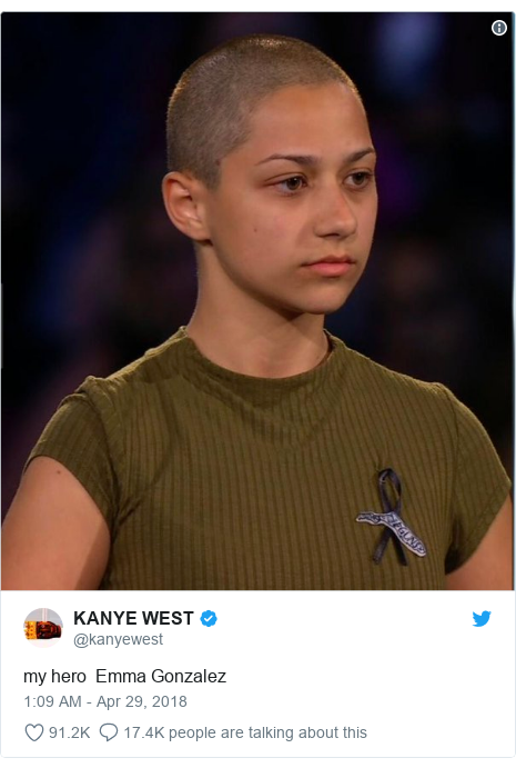 Twitter post by @kanyewest: my hero  Emma Gonzalez
