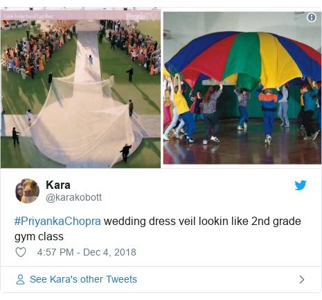 Twitter post by @karakobott: #PriyankaChopra wedding dress veil lookin like 2nd grade gym class