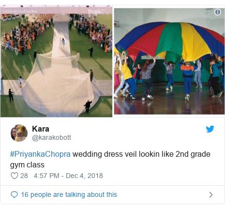 Twitter waxaa daabacay @karakobott: #PriyankaChopra wedding dress veil lookin like 2nd grade gym class