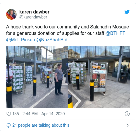 Twitter post by @karendawber: A huge thank you to our community and Salahadin Mosque for a generous donation of supplies for our staff @BTHFT @Mel_Pickup @NazShahBfd
