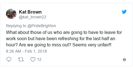 Twitter post by @kat_brown22: What about those of us who are going to have to leave for work soon but have been refreshing for the last half an hour? Are we going to miss out? Seems very unfair!!
