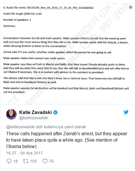@katiezavadski tarafından yapılan Twitter paylaşımı: These calls happened after Zarrab's arrest, but they appear to have taken place quite a while ago. (See mention of Obama below)