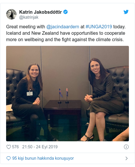 @katrinjak tarafından yapılan Twitter paylaşımı: Great meeting with @jacindaardern at #UNGA2019 today. Iceland and New Zealand have opportunities to cooperate more on wellbeing and the fight against the climate crisis.