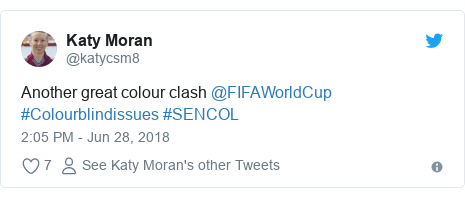Twitter post by @katycsm8: Another great colour clash @FIFAWorldCup #Colourblindissues #SENCOL