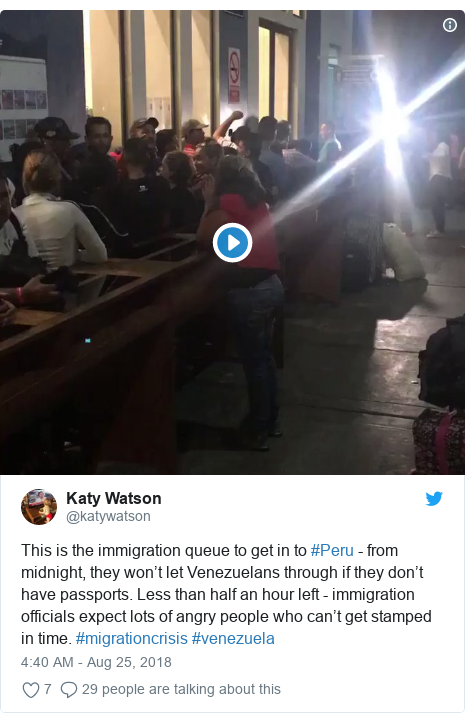 Twitter post by @katywatson: This is the immigration queue to get in to #Peru - from midnight, they won't let Venezuelans through if they don't have passports. Less than half an hour left - immigration officials expect lots of angry people who can't get stamped in time. #migrationcrisis #venezuela