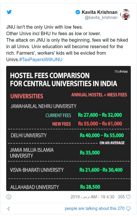 ٹوئٹر پوسٹس @kavita_krishnan کے حساب سے: JNU isn't the only Univ with low fees.Other Univs incl BHU hv fees as low or lower.The attack on JNU is only the beginning, fees will be hiked in all Univs. Univ education will become reserved for the rich. Farmers', workers' kids will be evicted from Univs.#TaxPayersWithJNU