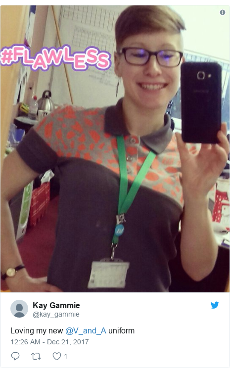Twitter post by @kay_gammie: Loving my new @V_and_A uniform
