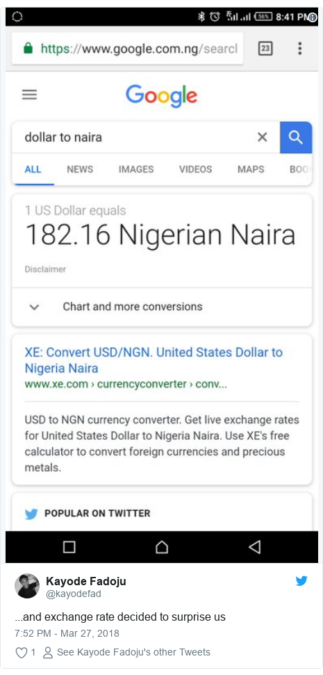 Twitter post by @kayodefad: ...and exchange rate decided to surprise us