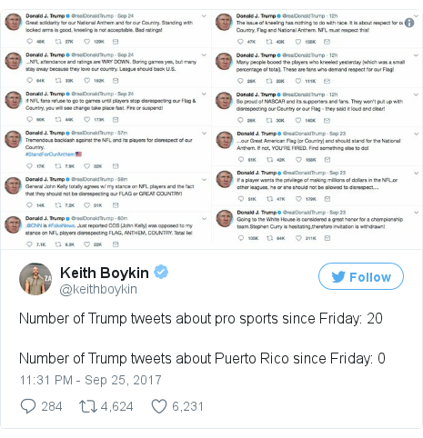 Twitter post by @keithboykin: Number of Trump tweets about pro sports since Friday  20Number of Trump tweets about Puerto Rico since Friday  0 pic.twitter.com/8QyLaf8lI5