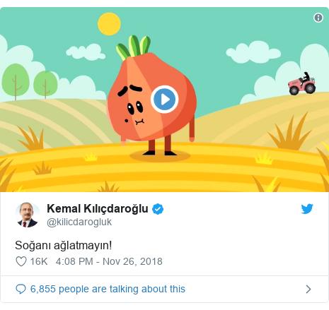 Twitter post by @kilicdarogluk: Soğanı ağlatmayın!