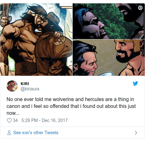 Twitter post by @kiriaura: No one ever told me wolverine and hercules are a thing in canon and i feel so offended that i found out about this just now...