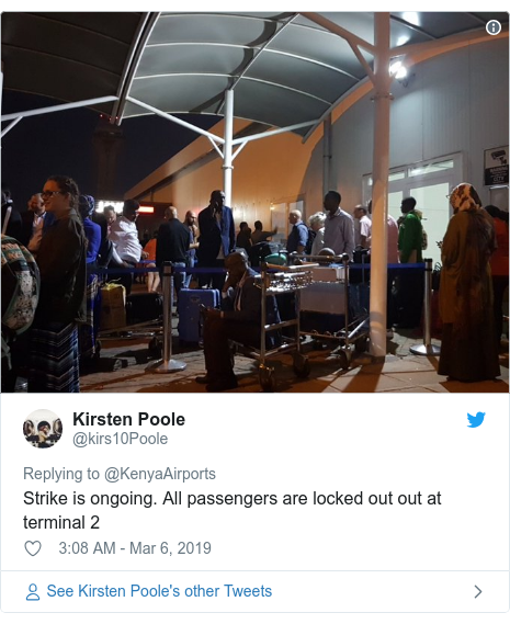Ujumbe wa Twitter wa @kirs10Poole: Strike is ongoing. All passengers are locked out out at terminal 2