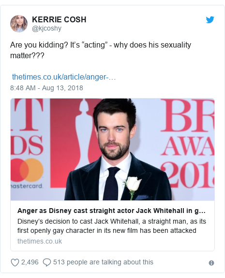 "Twitter post by @kjcoshy: Are you kidding? It's ""acting"" - why does his sexuality matter???"