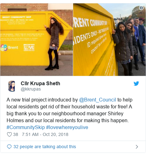 Twitter post by @kkrupas: A new trial project introduced by @Brent_Council to help local residents get rid of their household waste for free! A big thank you to our neighbourhood manager Shirley Holmes and our local residents for making this happen. #CommunitySkip #lovewhereyoulive
