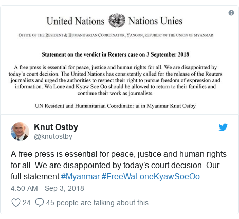 Twitter post by @knutostby: A free press is essential for peace, justice and human rights for all. We are disappointed by today's court decision. Our full statement #Myanmar #FreeWaLoneKyawSoeOo