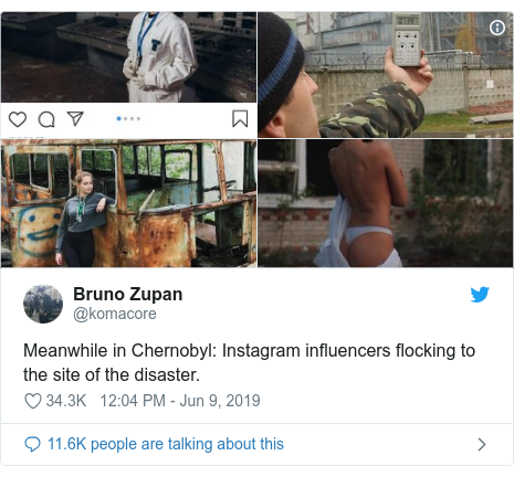 Twitter post by @komacore: Meanwhile in Chernobyl  Instagram influencers flocking to the site of the disaster.