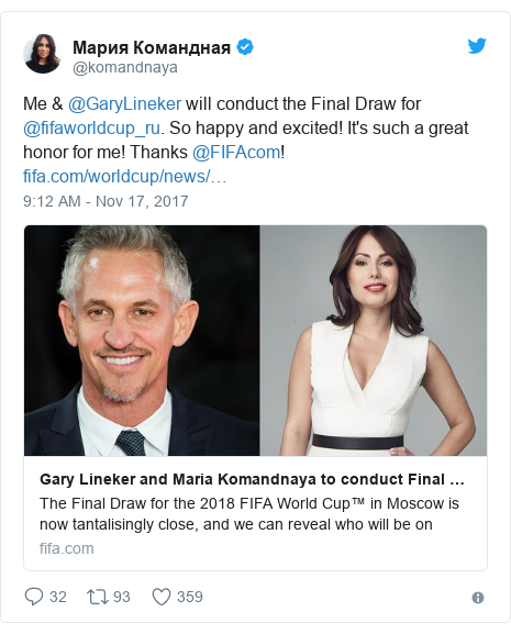 @komandnaya tərəfindən edilən Twitter paylaşımı: Me & @GaryLineker will conduct the Final Draw for @fifaworldcup_ru. So happy and excited! It's such a great honor for me! Thanks @FIFAcom!
