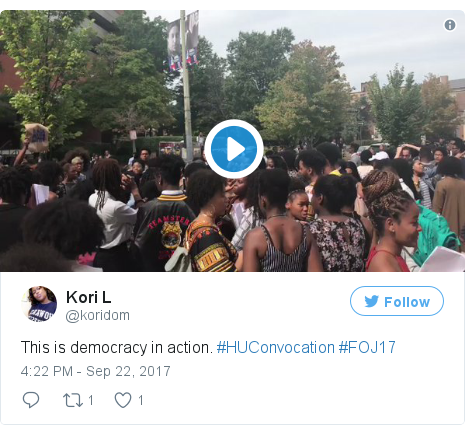 Twitter post by @koridom: This is democracy in action. #HUConvocation #FOJ17 pic.twitter.com/Cur5OS2ffz