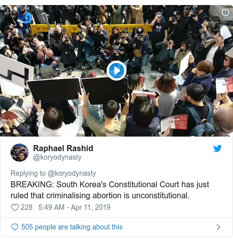 Twitter post by @koryodynasty: BREAKING  South Korea's Constitutional Court has just ruled that criminalising abortion is unconstitutional.