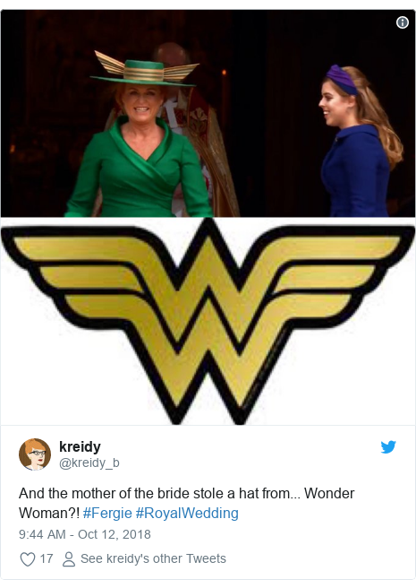 Twitter post by @kreidy_b: And the mother of the bride stole a hat from... Wonder Woman?! #Fergie #RoyalWedding