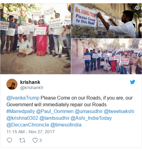 Twitter post by @krishank9: @IvankaTrump Please Come on our Roads,  if you are, our Government will immediately repair our Roads #Marredpally  @Paul_Oommen @umasudhir @tweetsakshi @krishna0302 @Iamtssudhir @Ashi_IndiaToday @DeccanChronicle @timesofindia