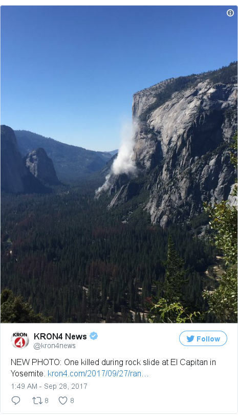 Twitter post by @kron4news: NEW PHOTO  One killed during rock slide at El Capitan in Yosemite. https //t.co/A6F7GdVMxl pic.twitter.com/RuEJQ5K76G