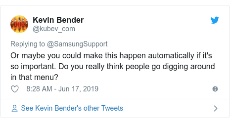 Twitter post by @kubev_com: Or maybe you could make this happen automatically if it's so important. Do you really think people go digging around in that menu?