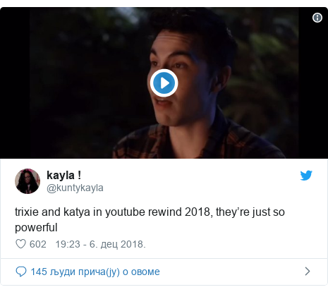 Twitter post by @kuntykayla: trixie and katya in youtube rewind 2018, they're just so powerful