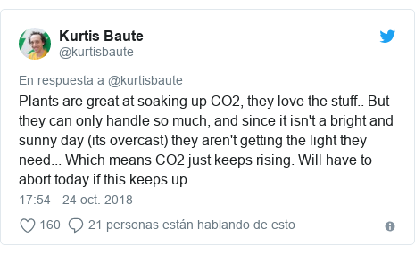 Publicación de Twitter por @kurtisbaute: Plants are great at soaking up CO2, they love the stuff.. But they can only handle so much, and since it isn't a bright and sunny day (its overcast) they aren't getting the light they need... Which means CO2 just keeps rising. Will have to abort today if this keeps up.