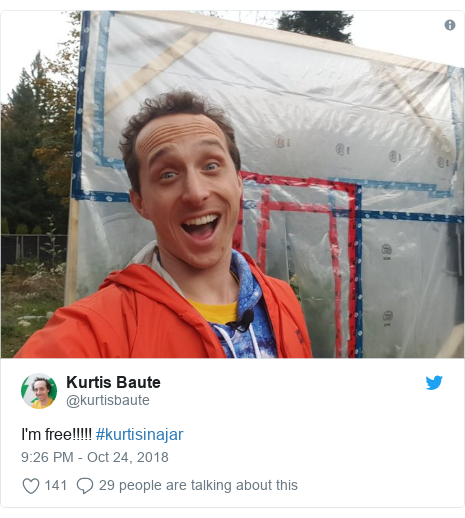 Twitter post by @kurtisbaute: I'm free!!!!! #kurtisinajar
