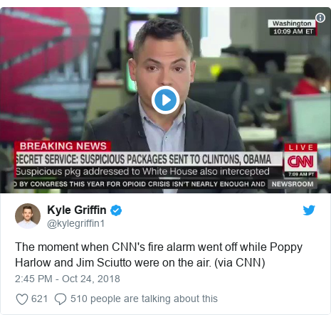 Twitter post by @kylegriffin1: The moment when CNN's fire alarm went off while Poppy Harlow and Jim Sciutto were on the air. (via CNN)