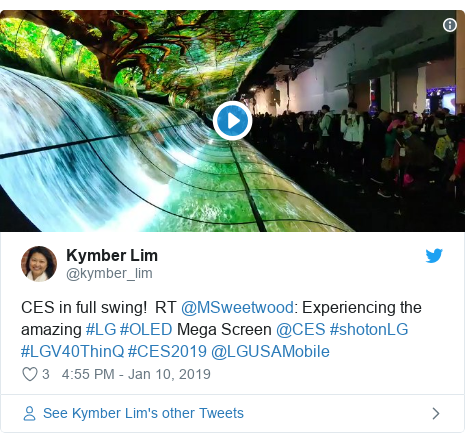 Twitter post by @kymber_lim: CES in full swing!  RT @MSweetwood  Experiencing the amazing #LG #OLED Mega Screen @CES #shotonLG #LGV40ThinQ #CES2019 @LGUSAMobile