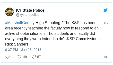 """Twitter post by @kystatepolice: #MarshallCounty High Shooting  """"The KSP has been in this area recently teaching the faculty how to respond to an active shooter situation. The students and faculty did everything they were trained to do"""" -KSP Commissioner Rick Sanders"""