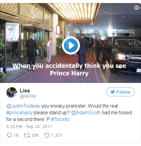 Twitter post by @la03la: @JustinTrudeau you sneaky prankster. Would the real #princeharry please stand up? @AdamScotti had me fooled for a second there  P #Toronto pic.twitter.com/RQUvPwF7h1