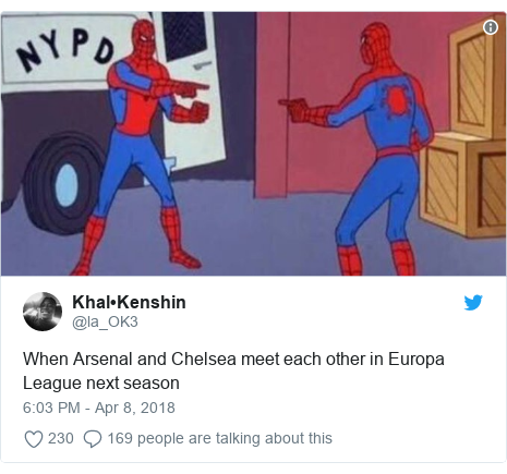 Twitter post by @la_OK3: When Arsenal and Chelsea meet each other in Europa League next season