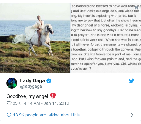 Twitter post by @ladygaga: Goodbye, my angel 💔