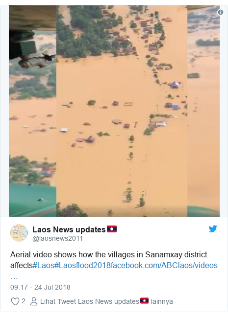 Twitter pesan oleh @laosnews2011: Aerial video shows how the villages in Sanamxay district affects#Laos#Laosflood2018