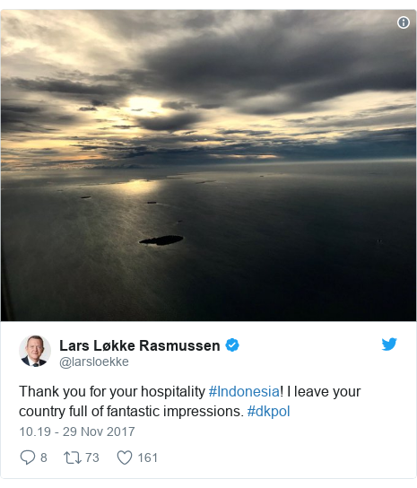 Twitter pesan oleh @larsloekke: Thank you for your hospitality #Indonesia! I leave your country full of fantastic impressions. #dkpol