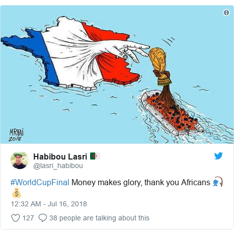 Twitter post by @lasri_habibou: #WorldCupFinal Money makes glory, thank you Africans 🎣💰