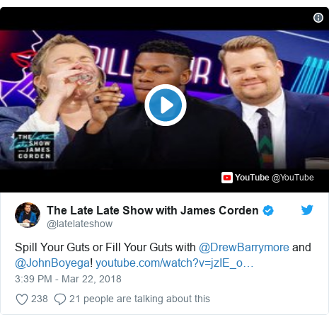 Twitter post by @latelateshow: Spill Your Guts or Fill Your Guts with @DrewBarrymore and @JohnBoyega!