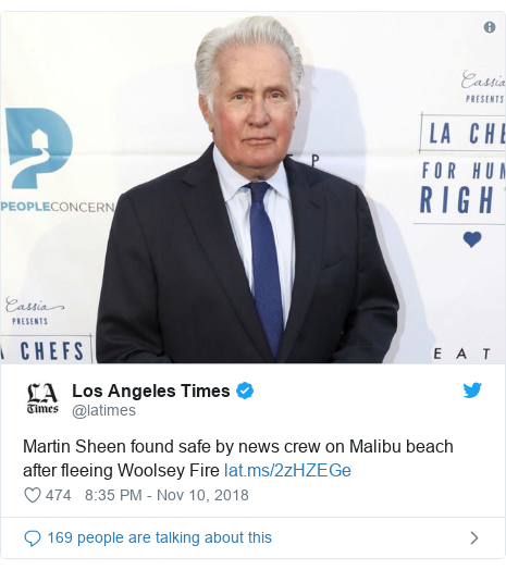 Twitter post by @latimes: Martin Sheen found safe by news crew on Malibu beach after fleeing Woolsey Fire