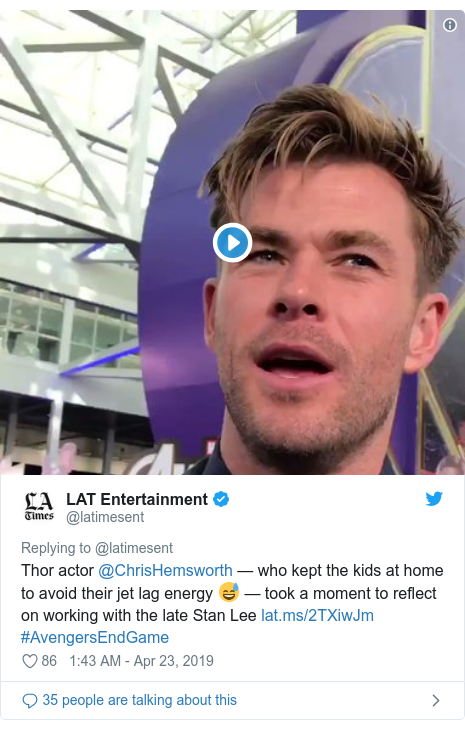 Twitter post by @latimesent: Thor actor @ChrisHemsworth — who kept the kids at home to avoid their jet lag energy 😅 — took a moment to reflect on working with the late Stan Lee  #AvengersEndGame
